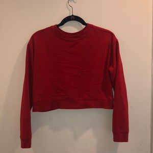 Cropped red crew neck sweatshirt. Small.